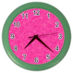 Geometric Pattern Wallpaper Pink Color Wall Clocks