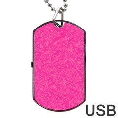 Geometric Pattern Wallpaper Pink Dog Tag Usb Flash (one Side)
