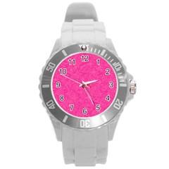Geometric Pattern Wallpaper Pink Round Plastic Sport Watch (l)