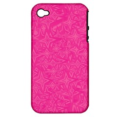 Geometric Pattern Wallpaper Pink Apple Iphone 4/4s Hardshell Case (pc+silicone)
