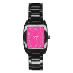 Geometric Pattern Wallpaper Pink Stainless Steel Barrel Watch