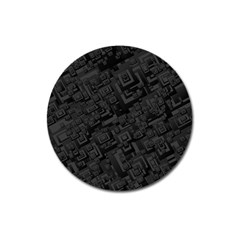 Black Rectangle Wallpaper Grey Magnet 3  (round)