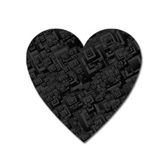 Black Rectangle Wallpaper Grey Heart Magnet