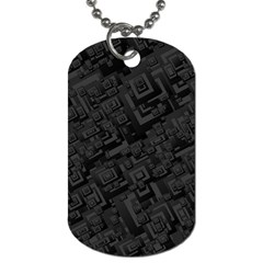 Black Rectangle Wallpaper Grey Dog Tag (two Sides)