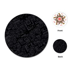 Black Rectangle Wallpaper Grey Playing Cards (round)