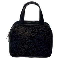 Black Rectangle Wallpaper Grey Classic Handbags (one Side)