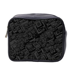 Black Rectangle Wallpaper Grey Mini Toiletries Bag 2 Side