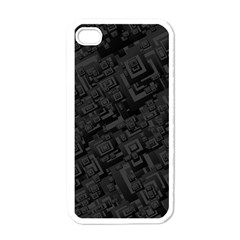 Black Rectangle Wallpaper Grey Apple Iphone 4 Case (white)