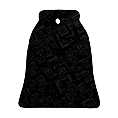 Black Rectangle Wallpaper Grey Bell Ornament (two Sides)