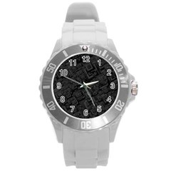 Black Rectangle Wallpaper Grey Round Plastic Sport Watch (l)