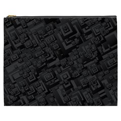 Black Rectangle Wallpaper Grey Cosmetic Bag (XXXL)