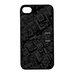 Black Rectangle Wallpaper Grey Apple Iphone 4/4s Hardshell Case With Stand