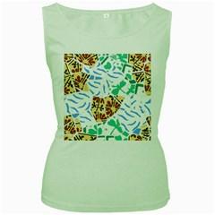 Broken Tile Texture Background Women s Green Tank Top