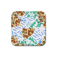 Broken Tile Texture Background Rubber Square Coaster (4 Pack)
