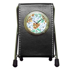 Broken Tile Texture Background Pen Holder Desk Clocks