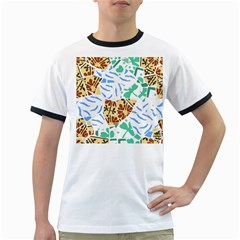 Broken Tile Texture Background Ringer T Shirts