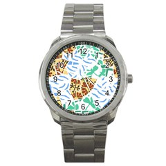 Broken Tile Texture Background Sport Metal Watch