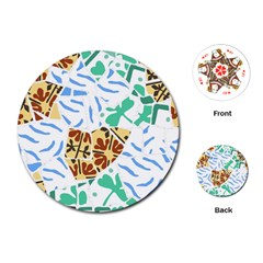 Broken Tile Texture Background Playing Cards (Round)