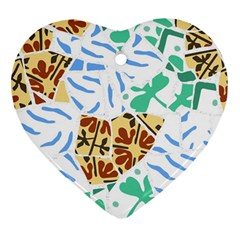 Broken Tile Texture Background Heart Ornament (two Sides)
