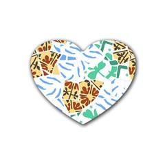 Broken Tile Texture Background Rubber Coaster (heart)