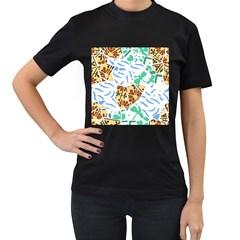 Broken Tile Texture Background Women s T Shirt (black)