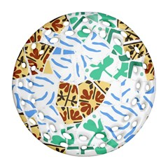 Broken Tile Texture Background Round Filigree Ornament (Two Sides)