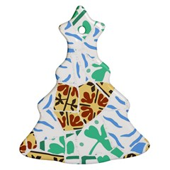 Broken Tile Texture Background Christmas Tree Ornament (two Sides)
