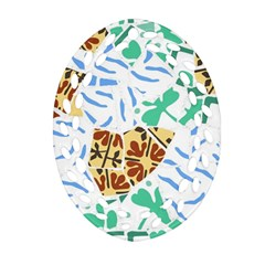 Broken Tile Texture Background Oval Filigree Ornament (two Sides)