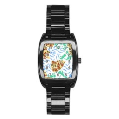 Broken Tile Texture Background Stainless Steel Barrel Watch