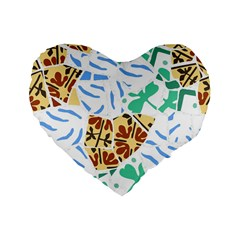 Broken Tile Texture Background Standard 16  Premium Flano Heart Shape Cushions
