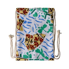 Broken Tile Texture Background Drawstring Bag (Small)