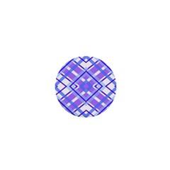 Geometric Plaid Pale Purple Blue 1  Mini Buttons
