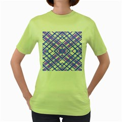 Geometric Plaid Pale Purple Blue Women s Green T-Shirt