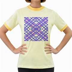 Geometric Plaid Pale Purple Blue Women s Fitted Ringer T Shirts