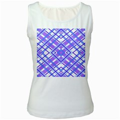 Geometric Plaid Pale Purple Blue Women s White Tank Top
