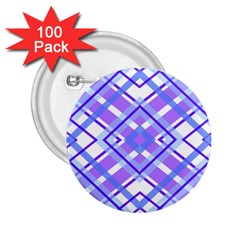 Geometric Plaid Pale Purple Blue 2.25  Buttons (100 pack)