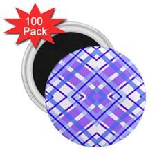 Geometric Plaid Pale Purple Blue 2.25  Magnets (100 pack)