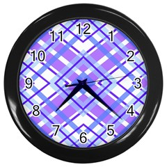 Geometric Plaid Pale Purple Blue Wall Clocks (black)