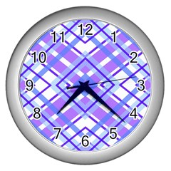 Geometric Plaid Pale Purple Blue Wall Clocks (silver)