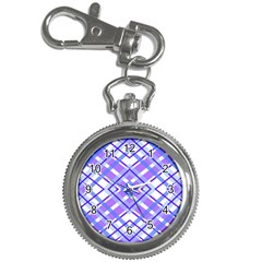 Geometric Plaid Pale Purple Blue Key Chain Watches
