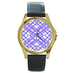 Geometric Plaid Pale Purple Blue Round Gold Metal Watch