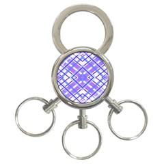 Geometric Plaid Pale Purple Blue 3 Ring Key Chains