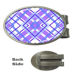 Geometric Plaid Pale Purple Blue Money Clips (oval)