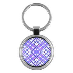 Geometric Plaid Pale Purple Blue Key Chains (Round)