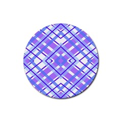 Geometric Plaid Pale Purple Blue Rubber Coaster (Round)