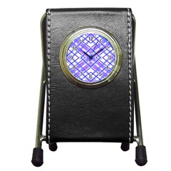 Geometric Plaid Pale Purple Blue Pen Holder Desk Clocks