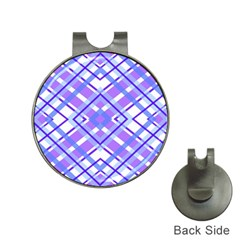 Geometric Plaid Pale Purple Blue Hat Clips With Golf Markers