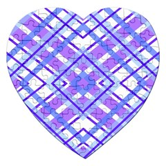 Geometric Plaid Pale Purple Blue Jigsaw Puzzle (heart)
