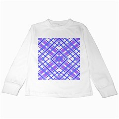Geometric Plaid Pale Purple Blue Kids Long Sleeve T-Shirts