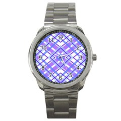 Geometric Plaid Pale Purple Blue Sport Metal Watch